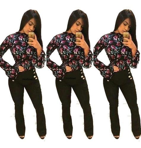 kit 2 calça feminina cintura alta flare 5 botoes lateral