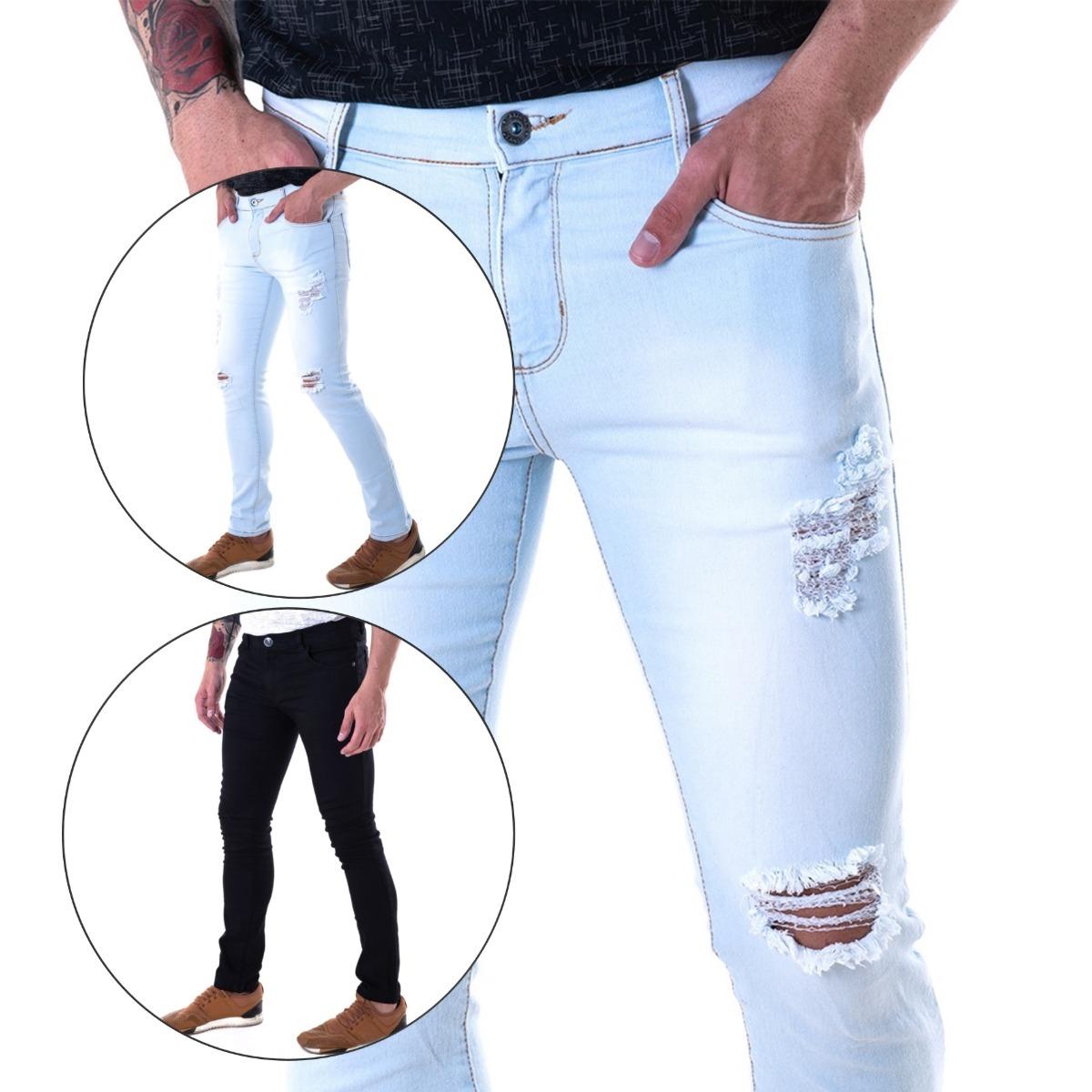898422921 kit 2 calça jeans masculina slin fit lycra ballad premium. Carregando zoom.