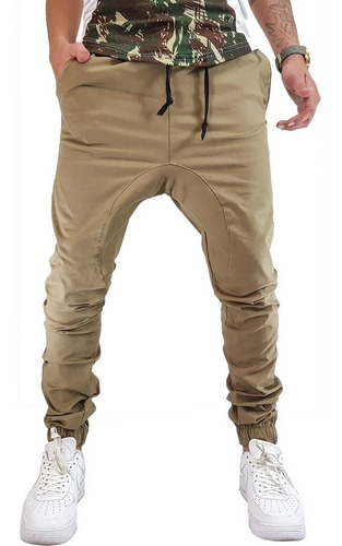 kit 2 calça jogger masculina calça de sarja caqui + preto