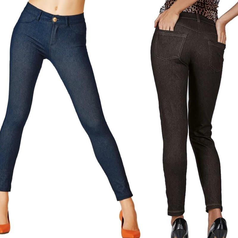 139c44013 kit 2 calça legging jeans demillus original até tam 50. Carregando zoom.