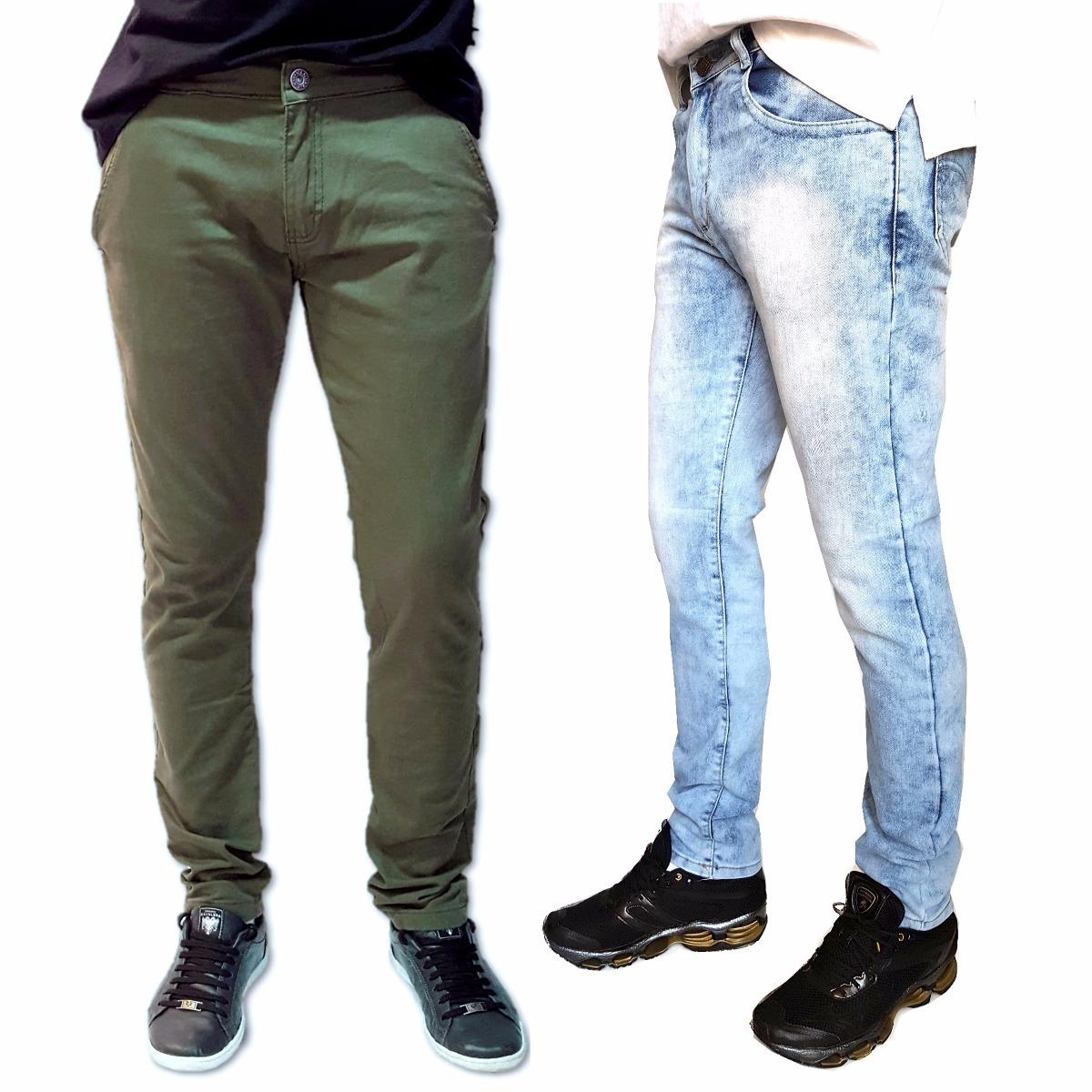 99b2bfd8e kit 2 calça masculina skinny lycra verde e agua oferta. Carregando zoom.