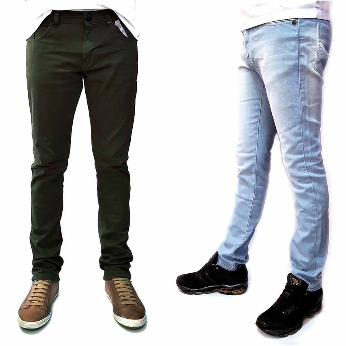 91f62c6d8 kit 2 calça masculina skinny lycra verde e agua premium. Carregando zoom.