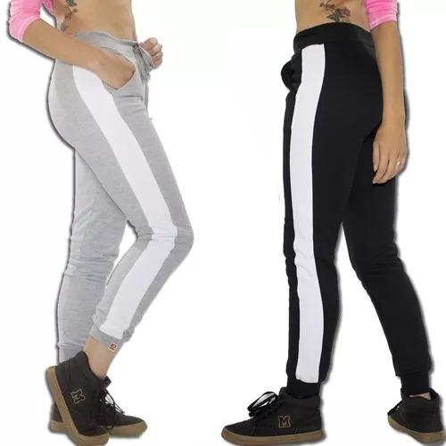 kit 2 calça moletom feminina jogger listrada vcstilo
