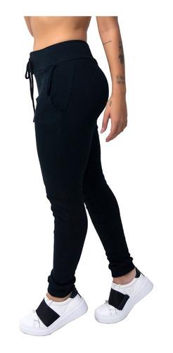 kit 2 calça ribana moletom canelado cintura alta 9484