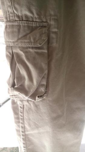 kit 2 calças cargo 6 bolsos em brim sarja