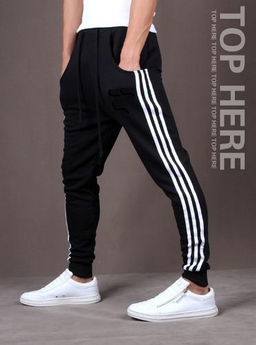 kit 2 calças de moleton masculina saruel skinny sport luxo