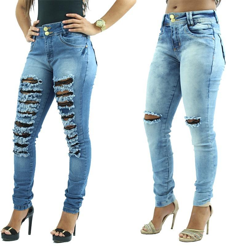c86ec9ac9 kit 2 calças femininas jeans rasgado cintura alta 2 cores. Carregando zoom.