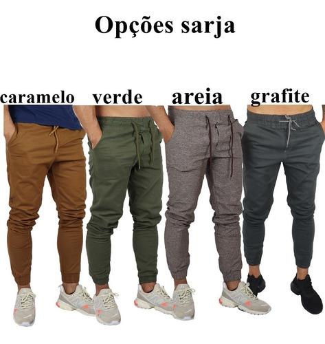 kit 2 calças jeans camuflada masculina jogger c/ punho lycra
