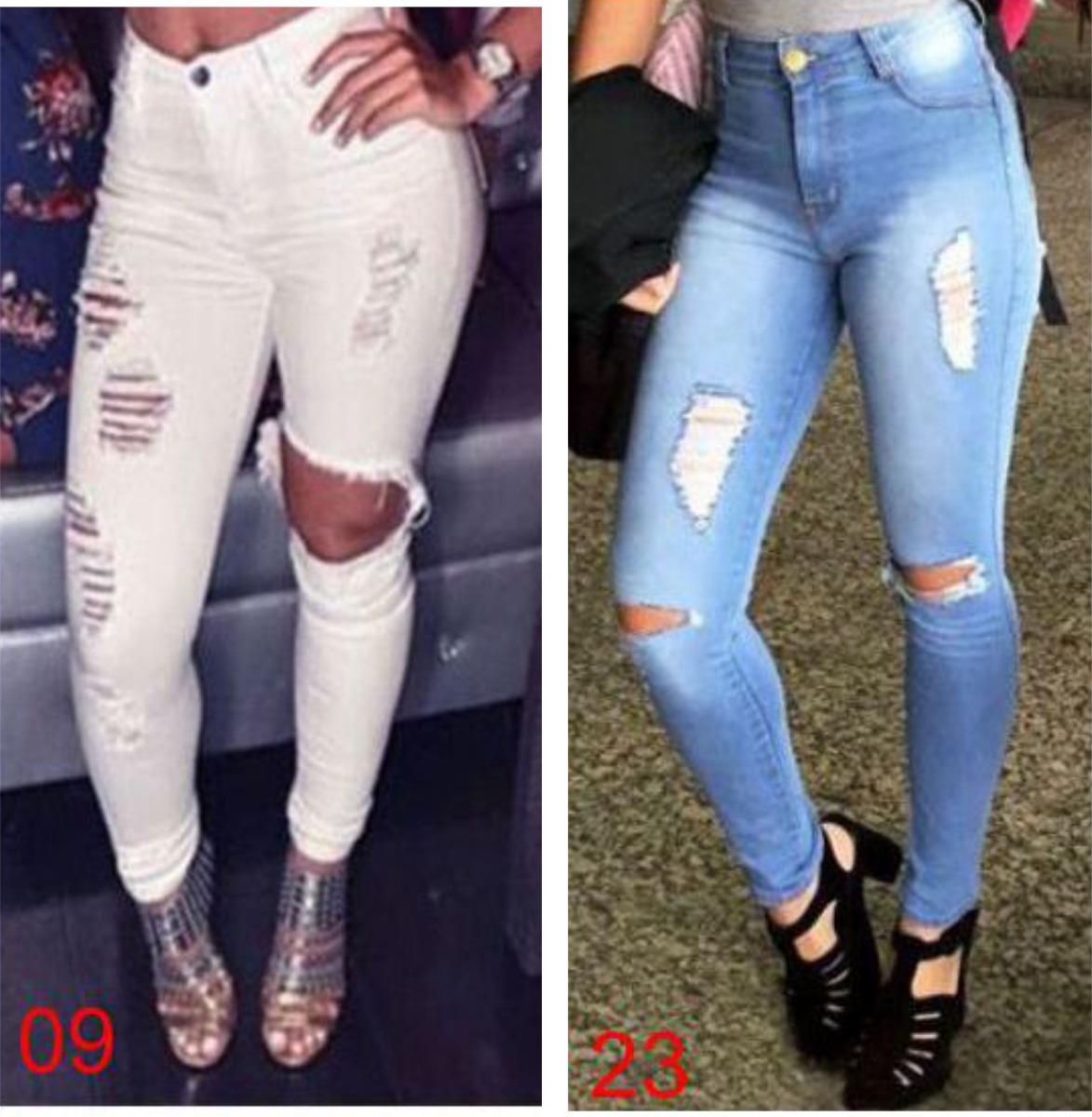 f43b20f14 kit 2 calças jeans cintura alta roupa feminina rasgos dins. Carregando zoom.