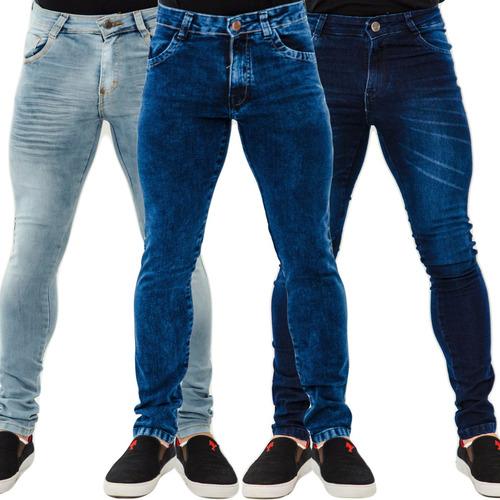 kit 2 calças jeans masculina skinny especial lycra premium