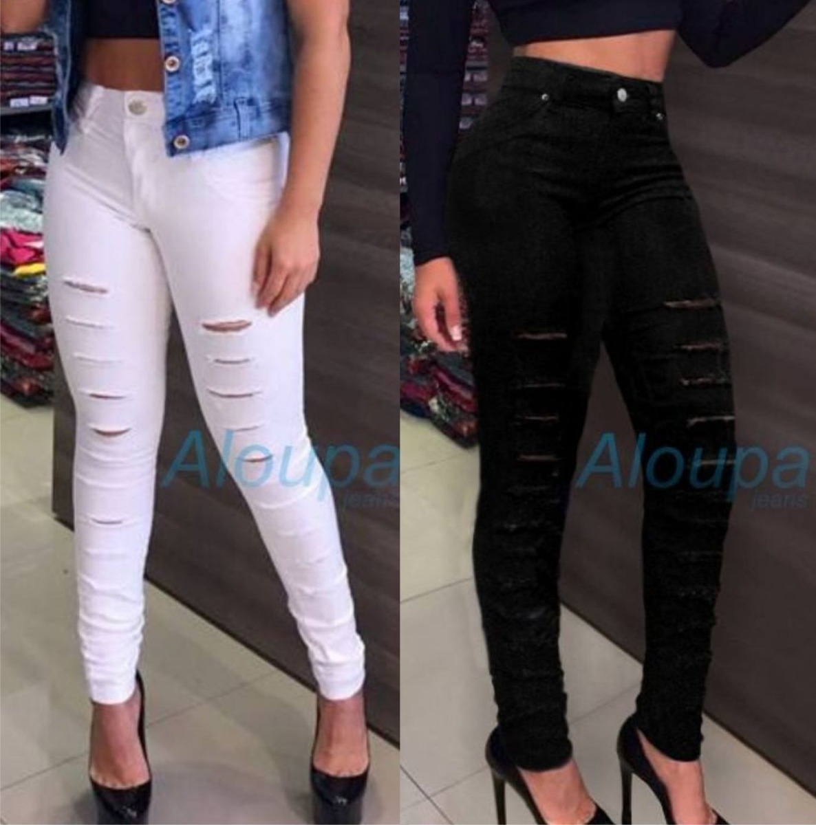 d5836f3c8 kit 2 calças jeans rasgada cintura alta roupas feminina dins. Carregando  zoom.