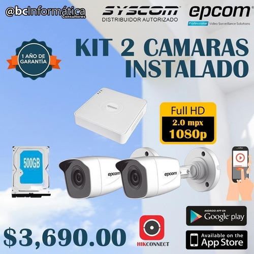 kit 2 cámaras de seguridad