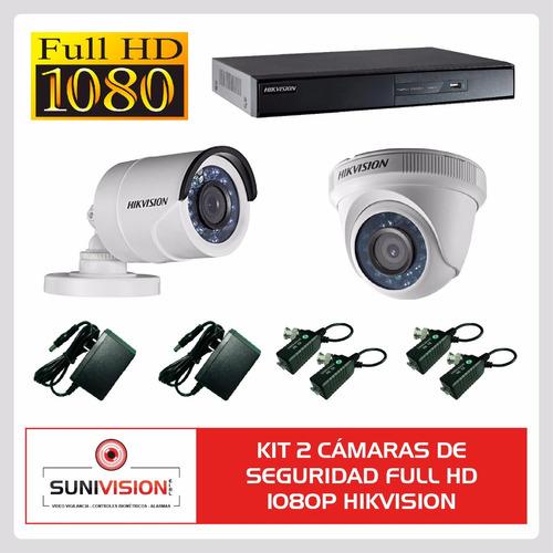 kit 2 camaras de seguridad full hd 1080p hikvision