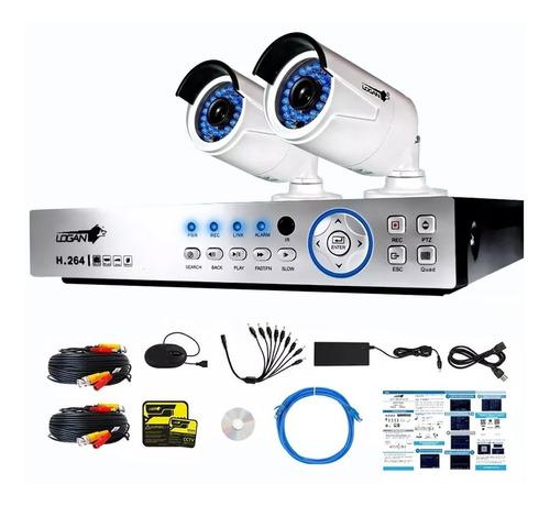 kit 2 camaras seguridad bullet 1080p dvr 4 canales hd