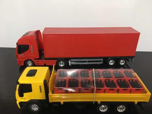 kit 2 caminhões iveco - bebidas, baú usual confira o video