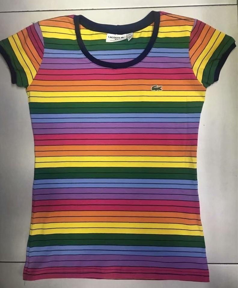 53262b1761f Kit 2 Camisa Camiseta Lacoste Arco Iris Nova Estoque     ! - R  179 ...