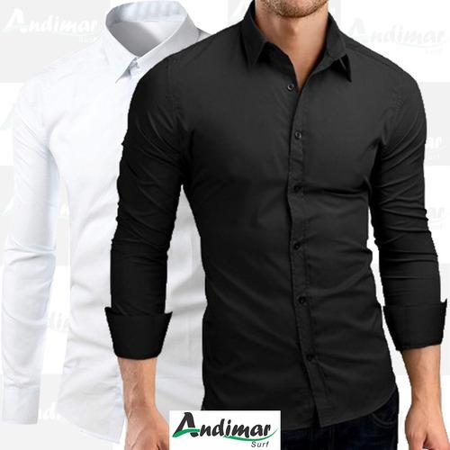 kit 2 camisa social masculina slim fit preta branca luxo top