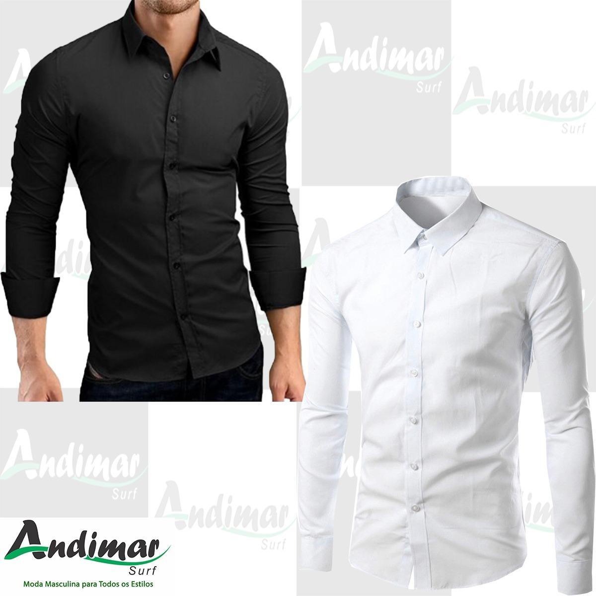 e4b57e9adf kit 2 camisa social masculina slim fit preta branca luxo top. Carregando  zoom.