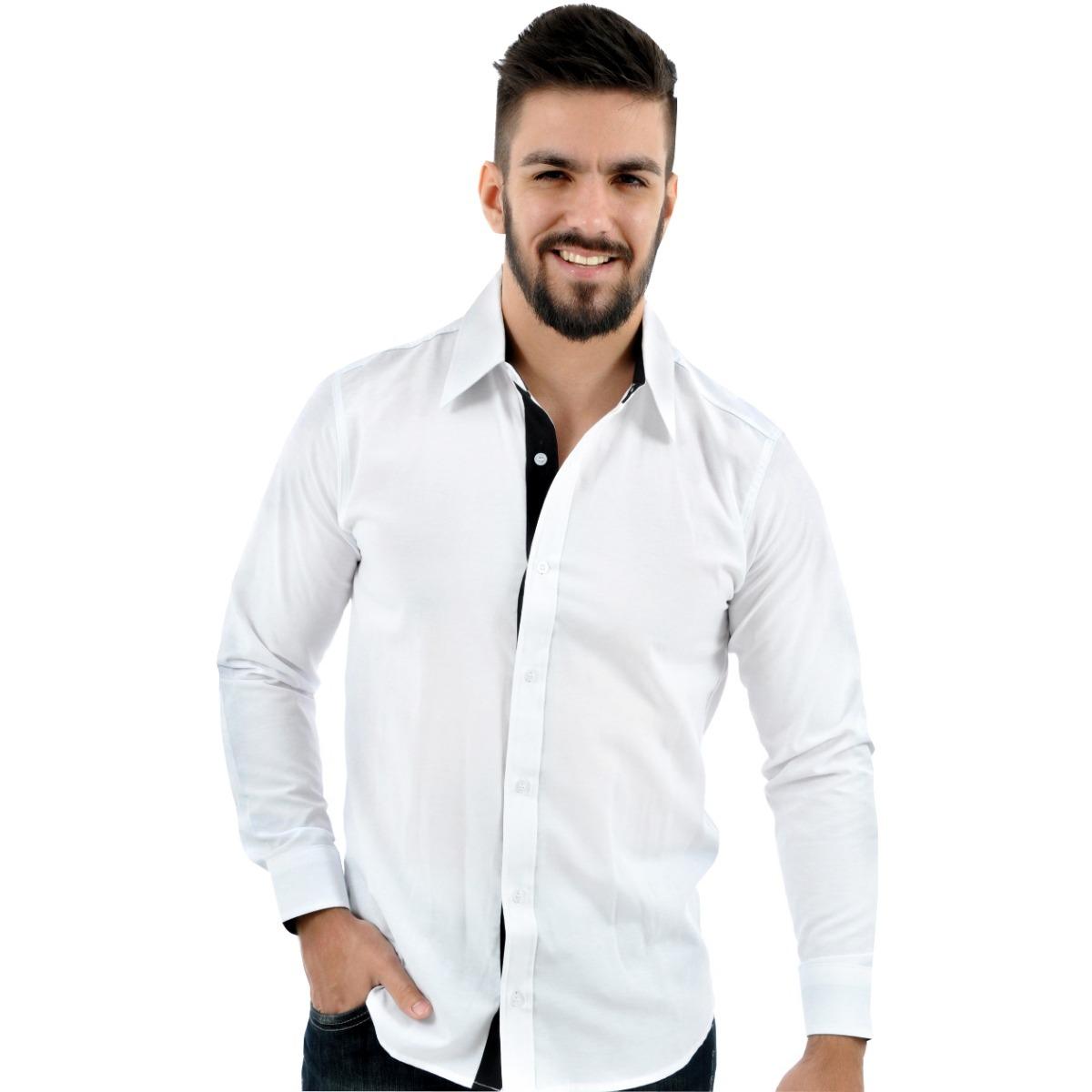 72232d37e5 kit 2 camisa social masculina slim tricoline formal civil. Carregando zoom.