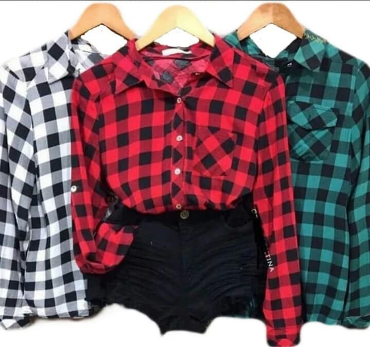 c80476ecfb Kit 2 Camisa Xadrez Feminina Manga Longa Roupas - R  130