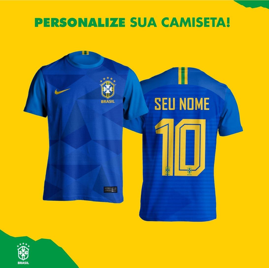 00663747a0 kit 2 camisas azul seleção brasileira personalizada. Carregando zoom.