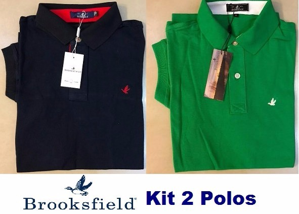 5efa526361474 Kit 2 Camisas Polo Brooksfield Masculina Básica Frete Grátis - R ...