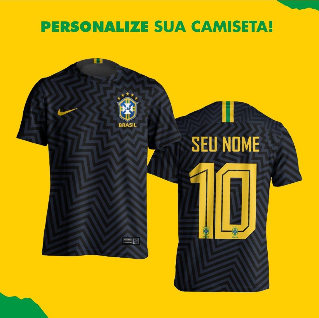 4e8a337ddb kit 2 camisas preta seleção brasileira personalizada. Carregando zoom.