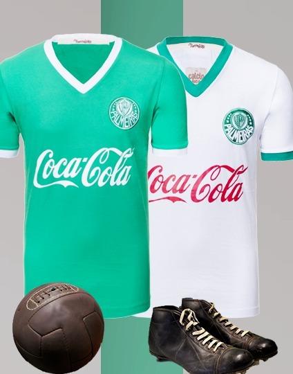 24661a9fecf50 Kit 2 Camisas Retrô - Palmeiras - 1986 Branca - Coca-cola - R  129 ...