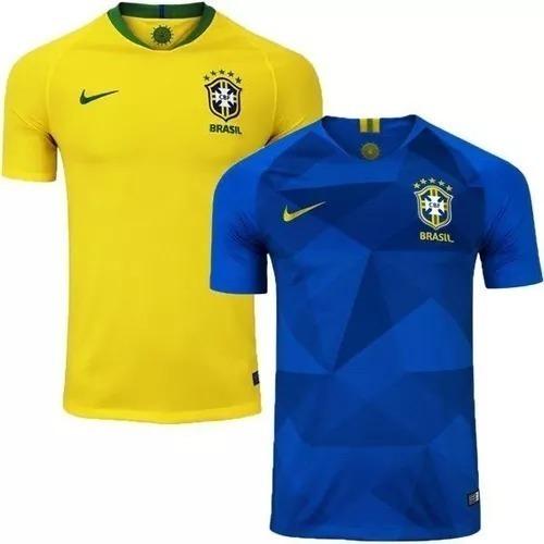 Kit 2 Camisas Seleção Brasileira - 2018 2019 Amarela + Azul - R  259 ... 3236e0e03fd08