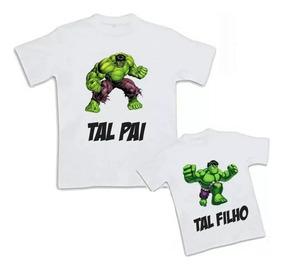 906cfa3f95f619 Camiseta Hulk Pai E Filho Tamanho P - Camisetas Masculinas P Curta ...