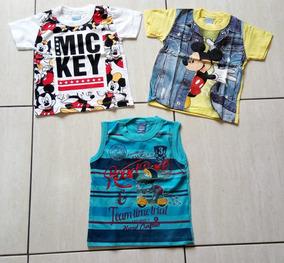 c5e7cef97 Kit 2 Camiseta Com Manga Mickey E 1 Camisa Regata Infantil