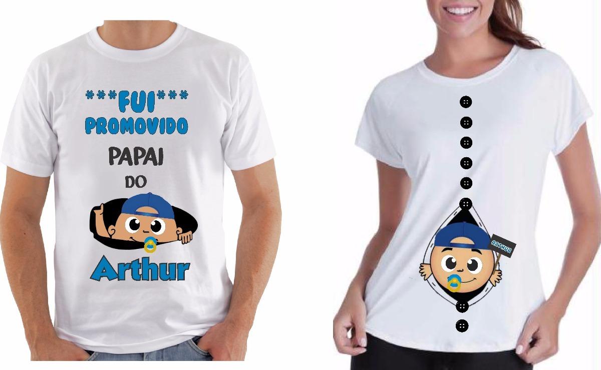 f60298aea Kit 2 Camiseta Ou Bata Fui Promovido Papai Grávida Bebê - R  65