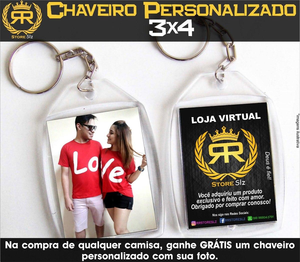 0f8ed713c Kit-2 Camisetas Casal Love 100%algodão+chaveiro Personalizad - R  68 ...