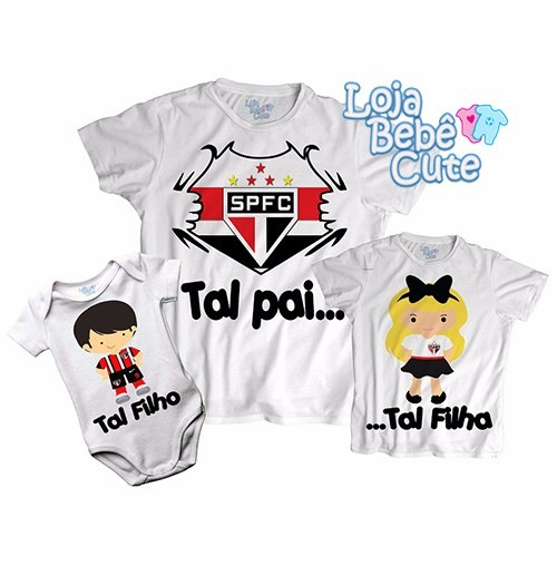 Kit 2 Camisetas Tal Pai Tal Filho São Paulo Qualquer Time - R  59 b6692d4f41770