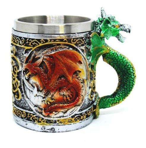 kit 2 canecas aço cerveja chopp dragão dragoes  3d medieval