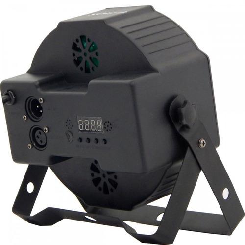 kit 2 canhão refletor 18 led dmx display digital par 64 slim