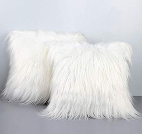 8089414a151504 Kit 2 Capa Para Almofada Pelucia Peluda Pelo Alto Branca 40
