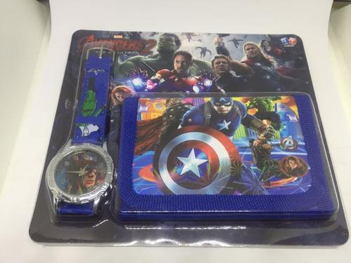 kit 2 carteira + relógio infantil heróis