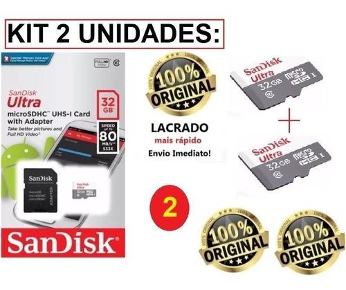 kit 2 cartão memória 32gb micro sd ultra 80mbs sandisk nfe