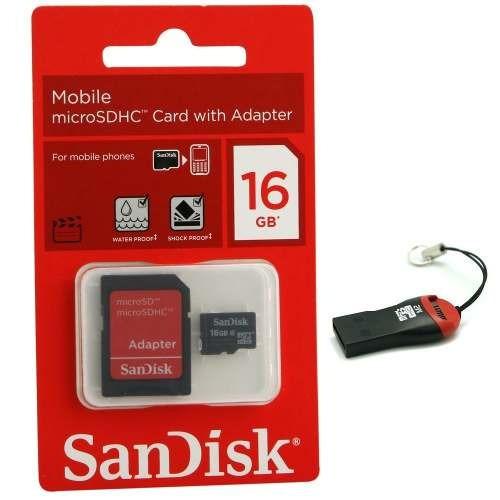 kit 2 cartão memória micro sd sandisk 16gb + 2 leitor grátis