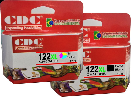 kit 2 cartuchos de tinta cdc 122xl preto+color ch563/ch564