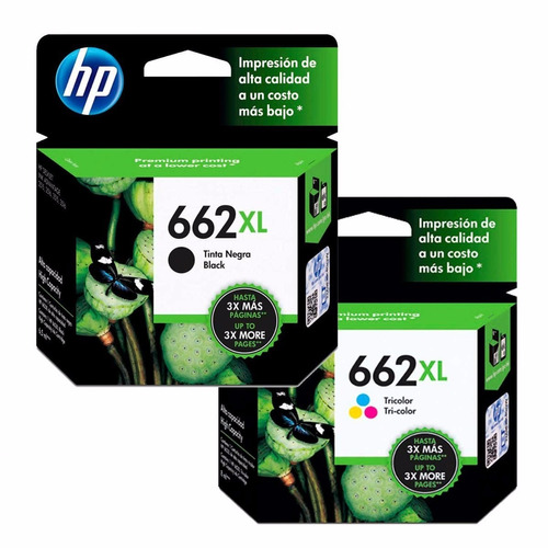 kit 2 cartuchos hp ( 662xl preto + color ) originais