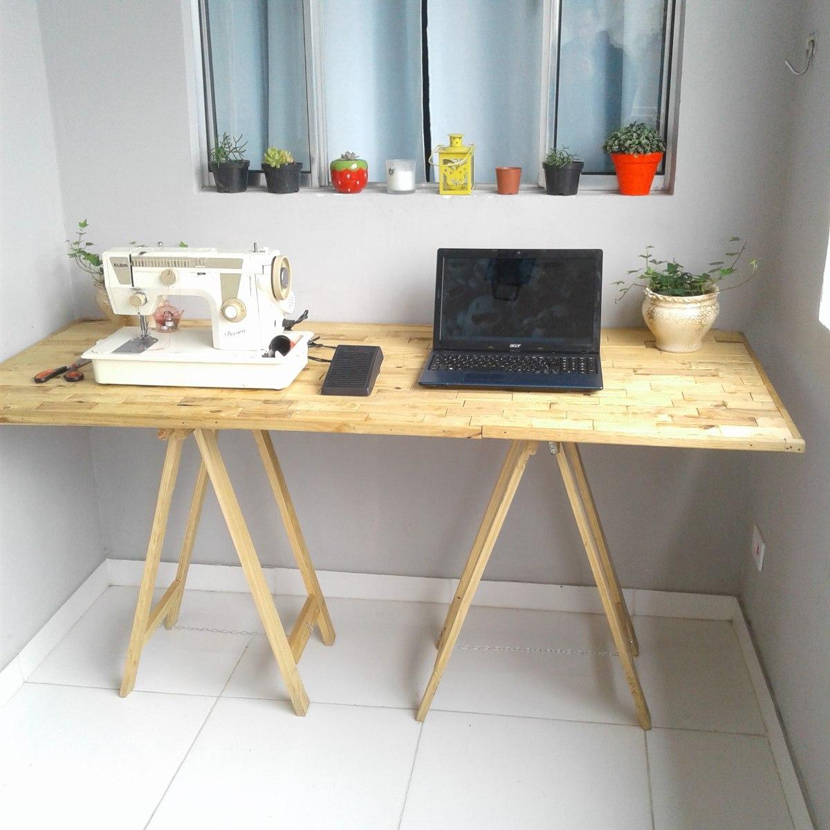 Kit 2 cavalete de madeira mesa escrit rio 50 x 80 promo o for Modelos de mesas cuadradas