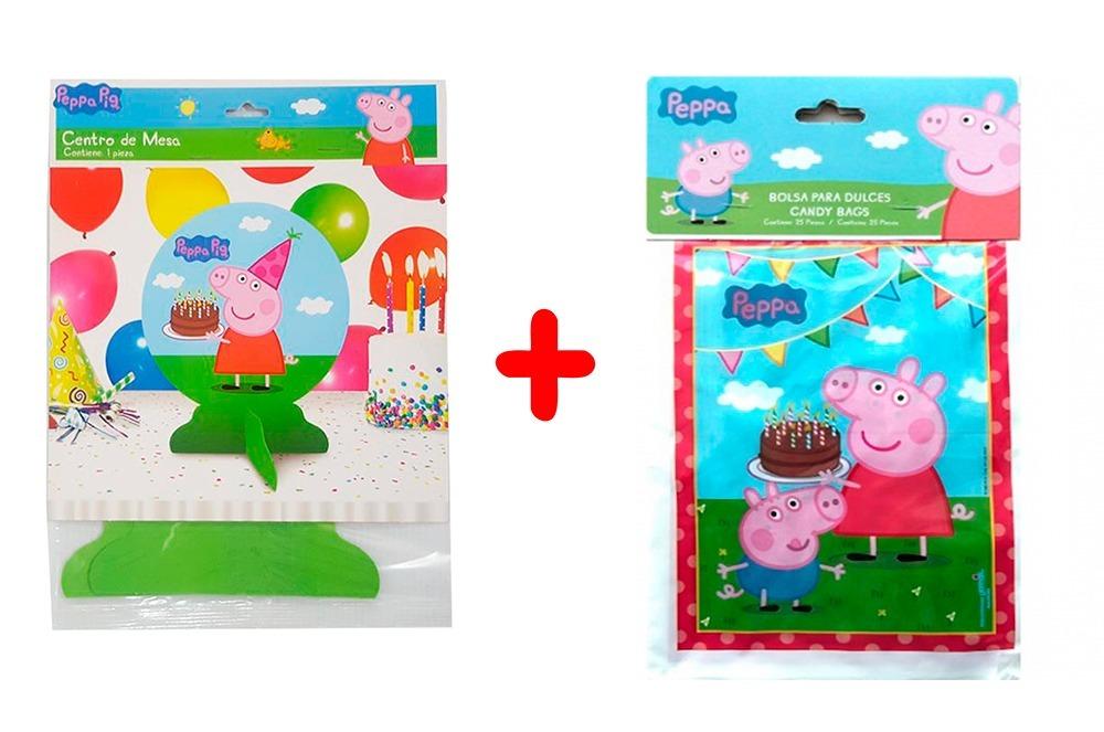 3c385c9d5 kit 2 centros de mesa pepa pig y 1 bolsas dulce cumpleaños. Cargando zoom.