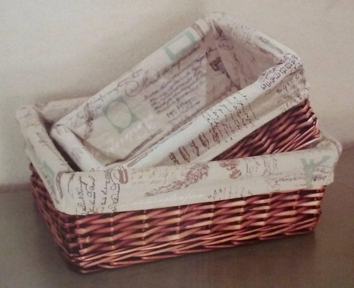Kit Banheiro Em Tecido : Kit cestas cestos em vime forro tecido para banheiro