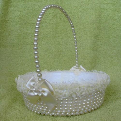 kit 2 cestas floristas de pérolas casamento - cor champagne