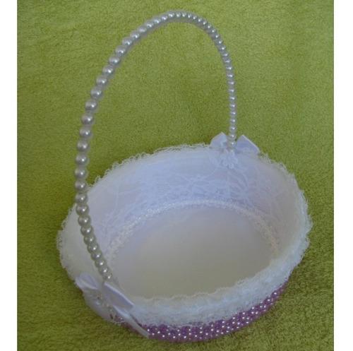 kit 2 cestas floristas de pérolas casamento - lilás