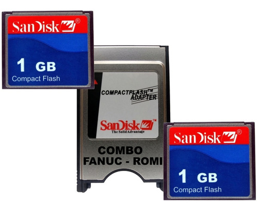 kit 2 cf 1gb + adaptador compact flash pcmcia + nfe - romi