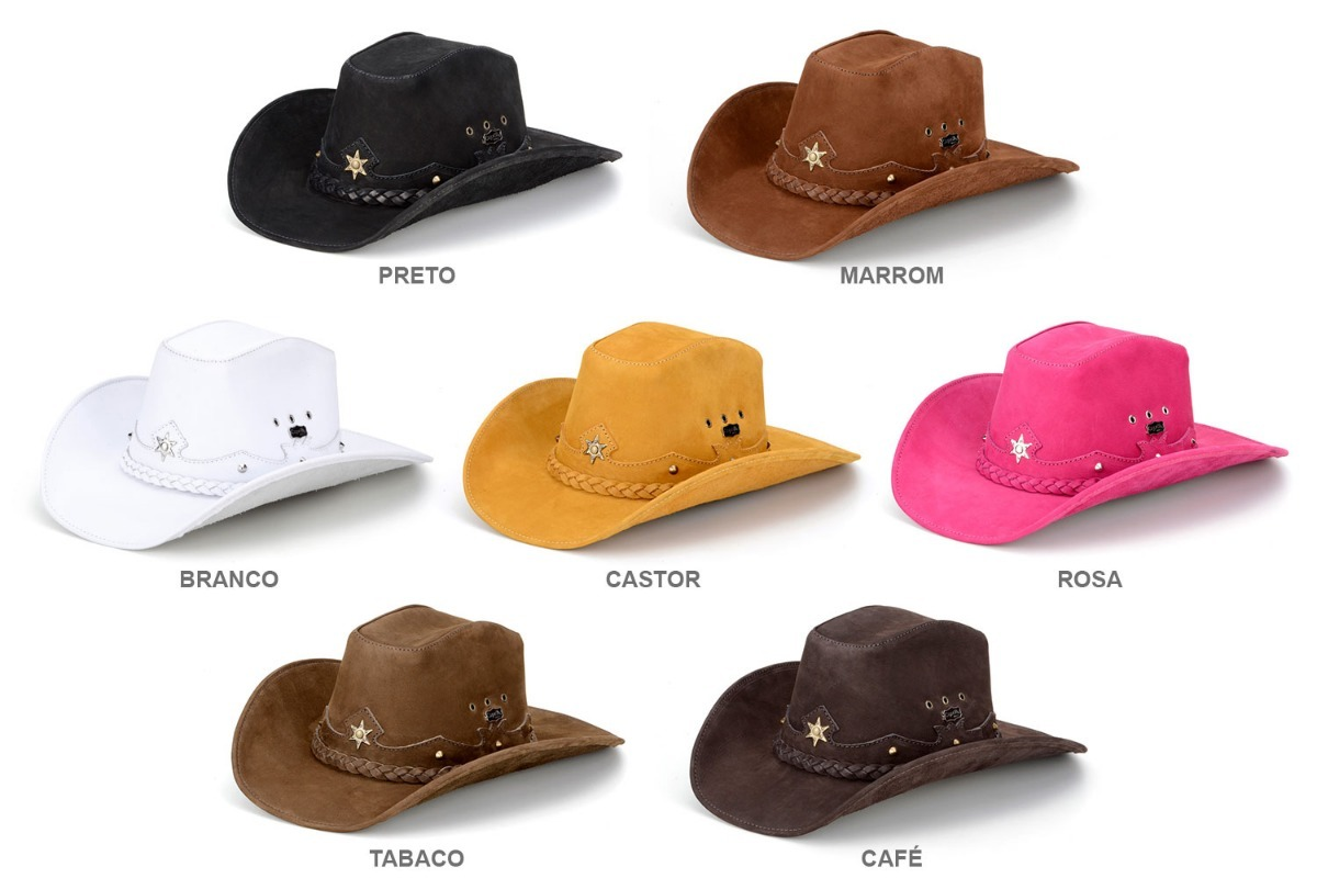 kit 2 chapeus de couro modelo americano feminino e masculino. Carregando  zoom. 0c6926ab1db