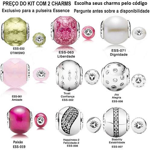 kit 2 charms essence prata 925 modelos variados a escolher